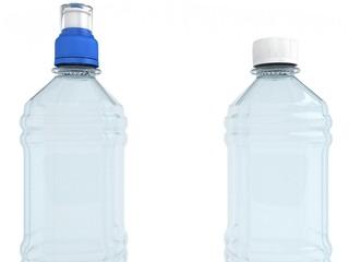 Empty bottles isolated on white background