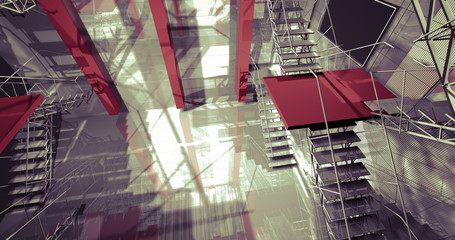 3d space. Modern industrial interior, stairs, clean space in ind