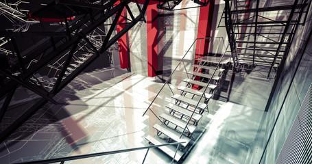 Nobody. Modern industrial interior, stairs, clean space in indus