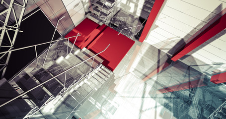 3d reflection. Modern industrial interior, stairs, clean space i