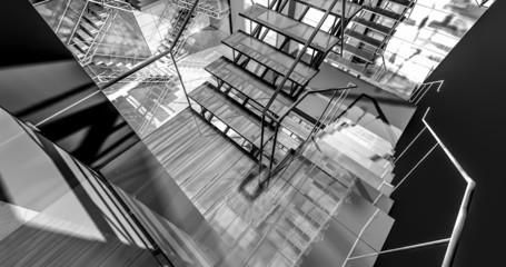 floor. Modern industrial interior, stairs, clean space in indust