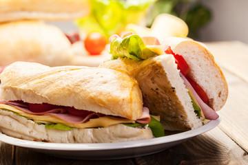 Italian panini sandwich with ham