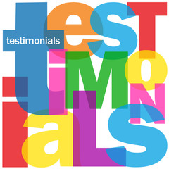 """TESTIMONIALS"" Letter Collage (customer user satisfaction like)"