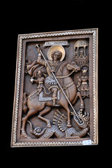 Christian icon on wooden surface