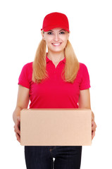 delivery girl holding the box white background