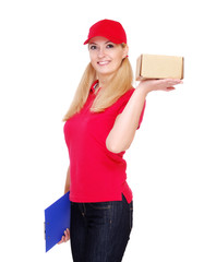 delivery girl wearing red uniform