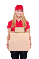 delivery girl wearing red uniform holding the parcel boxes