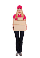 delivery girl  holding the parcel boxes full length