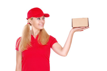 delivery girl looking to the box on her hand