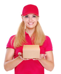 delivery girl holding the small parcel box