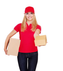 Delivery girl presenting parcel