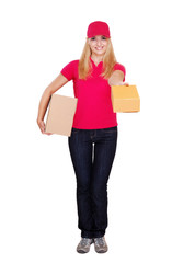 Delivery girl with boxes full length
