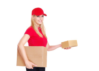 Delivery girl with boxes