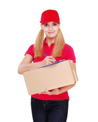 Delivery girl holding the box parcel