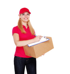 Delivery girl with parcel and tablet