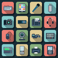 Electronic flat vector icons set 2
