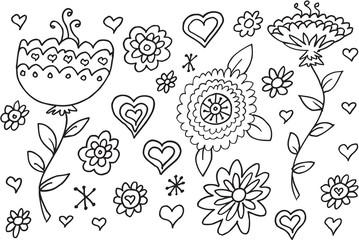 Doodle Summer Flowers Illustration Vector Set