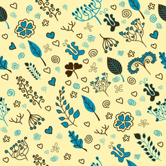 Cute colorful floral seamless pattern with leaf and flowers