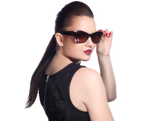beautiful and fashion girl in sunglasses, close-up portrait