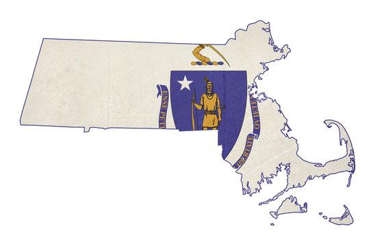 Grunge state of Massachusetts flag map