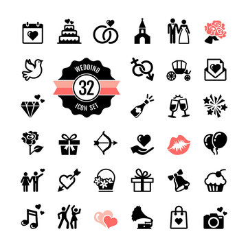Web icon set - Wedding, marriage, bridal