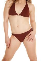 Woman body bikini hands side