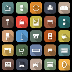 Living room flat icons with long shadow