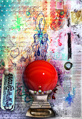 Fotobehang Imagination Graffiti background with red crystal ball