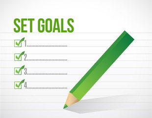 set goals check mark illustration design