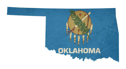 Wall Mural - Grunge state of Oklahoma flag map