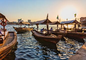 Fototapeta  Boats on the Bay Creek in Dubai, UAE obraz