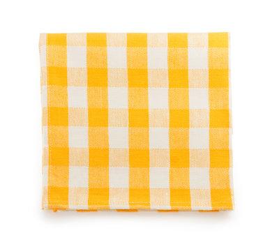 yellow napkin on white