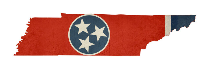 Grunge state of Tennessee flag map
