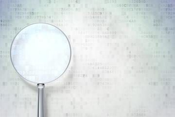 Optical glass on digital background