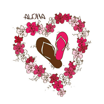Illustration with flip flops and lei flowers garland