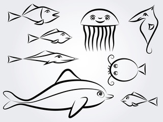Sea animal set - Illustration
