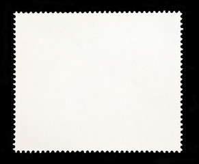 Francobollo postale. Forma bianca su sfondo nero