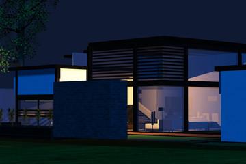 Modernes Wohnhaus bei Nacht