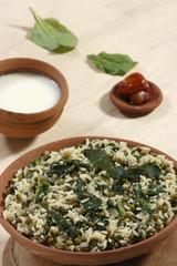 Saag waali Khichri it is an north Indian vegetable