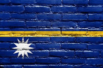 Nauru Flag painted on brick wall
