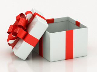 open white gift boxes with red ribbon