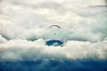Paragliding in Andes, view from above