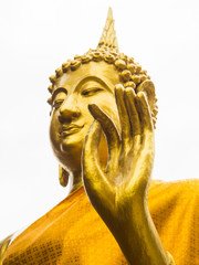 Hand of golden Buddha Statue in buddhist temple Thailand