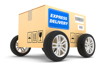 Postal parcel on wheels isolated on white background