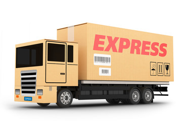 Express delivery truck isolated on white background