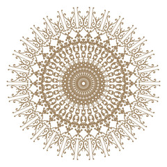 Decorative gold flower with vintage round patterns..