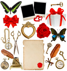 objects for scrapbook. clock, key, photo frame, butterfly
