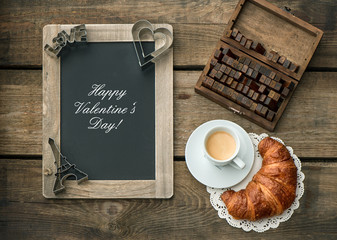 coffee with croissant. romantic Valentine's Day breakfast