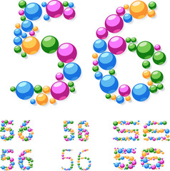Vector alphabet symbols of colorful bubbles or balls. 5-6
