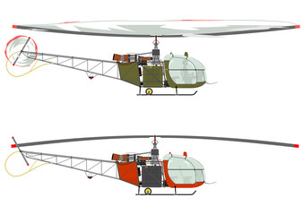 Silhouette of a retro helicopter on a white background.